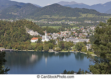 St. Martins Parish Church overlooking the Bled Lake in Slovenia.