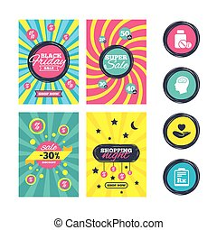 Medicine icons. Tablets bottle, brain, Rx. - Sale website...