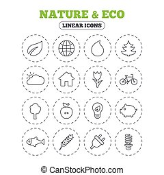 Nature and Eco icons. Trees, rose flower. - Nature and Eco...