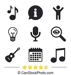 Music icons. Microphone, Acoustic guitar. - Music icons....