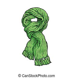 Bright green slip knotted winter knitted scarf with tassels