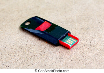 Red black USB memory stick - picture of a Red black USB...