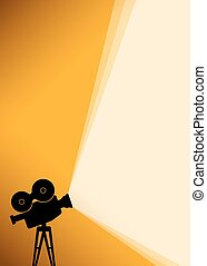 Silhouette of Cinema camera on yellow banner - Cinema poster...