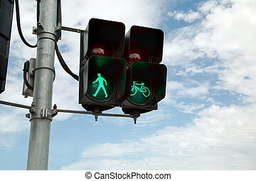 Green light in urban street - Green traffic light for...