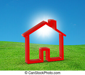 home - House Icon Over Arched Horizon of Empty Grass Field