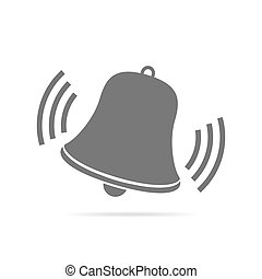Handbell of alarm clock. Icon. Vector illustration. -...