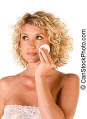 Facial skincare, cleaning make up - Beautiful blonde...