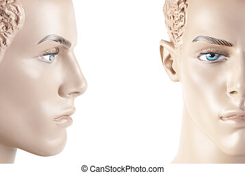 Male mannequin face | Studio isolated - Two parts of male...