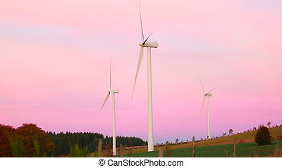 Wind Turbines At Sunset - Beautiful Landscape View Of Sunset...