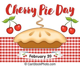 Cherry Pie Day, February 20, Gingham Place Mat - Cherry Pie...