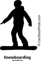 Snowboarding - Vector illustration of black silhouette of a...