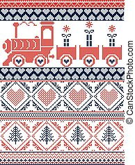 Scandinavian Printed Textile style and inspired by Norwegian Christmas and festive winter seamless pattern in cross stitch with gifts, gravy train, Christmas tree, heart, ornaments in red , dark blue