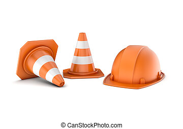 Rendering of two striped road cones and helmet, all isolated on white background.