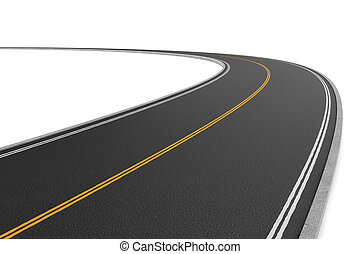 Rendering of two-way road bending to the left on white background.