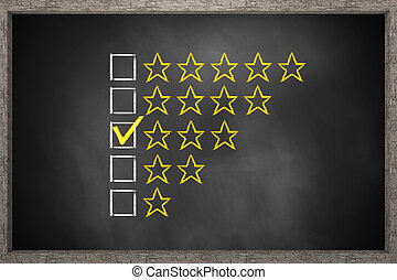 golden rating three stars on black chalkboard 3D...