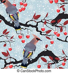 Birds and cherry tree seamless - Birds and cherry tree...