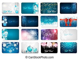 Big Collection of Beautiful Christmas and New Year Gift Card...