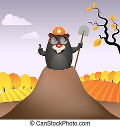 Merry mole is lucky. - Funny mole digs lucky smiling vector...
