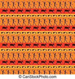 Caveman art seamless pattern.