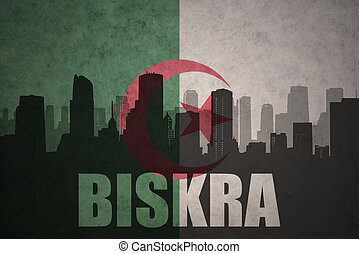 abstract silhouette of the city with text Biskra at the...