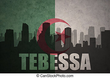 abstract silhouette of the city with text Tebessa at the...
