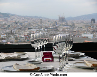 Barcelona from a restaurant - View of Gaud's Sagrada Familia...