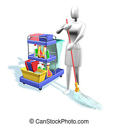 Woman cleaning - 3d illustration, Woman with tools cleaning