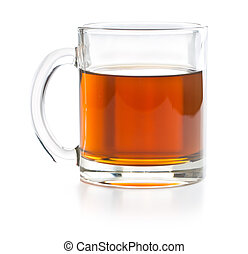 Tea in glass cup.