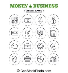Money and business icon. Cash and cashless money. - Money...