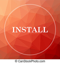 Install icon. Install website button on red low poly...