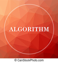 Algorithm icon. Algorithm website button on red low poly...
