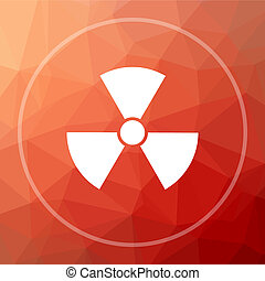 Radiation icon. Radiation website button on red low poly...