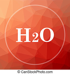 H2O icon. H2O website button on red low poly background.