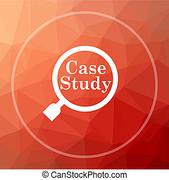 Case study icon. Case study website button on red low poly...