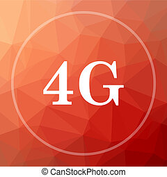4G icon. 4G website button on red low poly background.