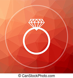 Diamond ring icon. Diamond ring website button on red low...