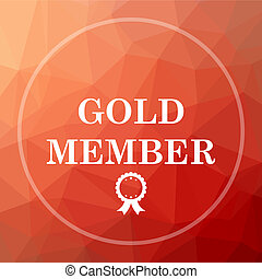Gold member icon. Gold member website button on red low poly...