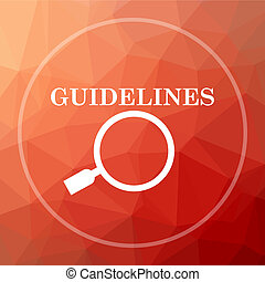 Guidelines icon. Guidelines website button on red low poly...