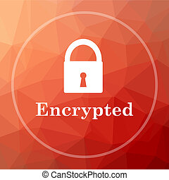 Encrypted icon. Encrypted website button on red low poly...