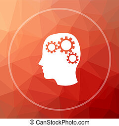 Brain icon. Brain website button on red low poly background.