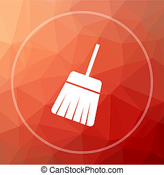 Sweep icon. Sweep website button on red low poly background.
