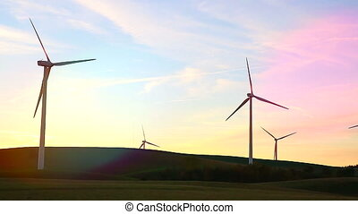 Wind Turbines Landscape At Sunset - Beautiful Landscape View...