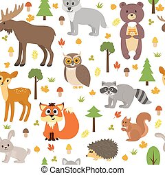 Seamless pattern with cute forest animals, mushrooms, leaves and trees