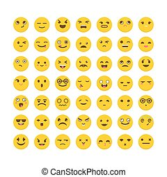 Set of emoticons. Avatars. Flat design. Big collection with...
