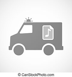 Isolated ambulance furgon icon with  a music score icon