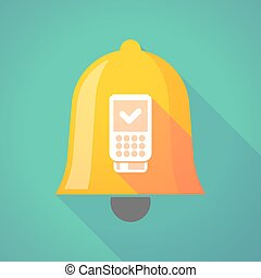 Long shadow bell icon with a dataphone icon - Illustration...