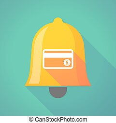 Long shadow bell icon with a credit card - Illustration of a...