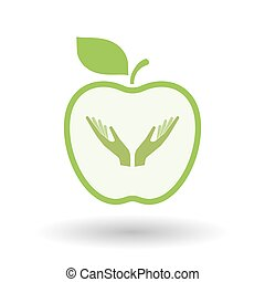 Isolated healthy apple fruit with  two hands offering