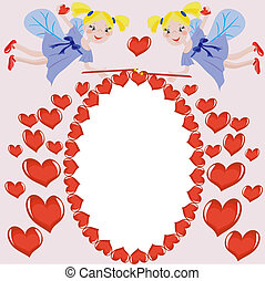 Frame with hearts and fairies