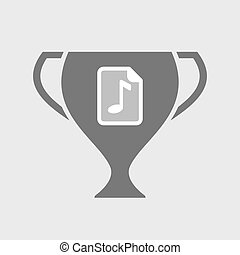 Isolated award cup icon with a music score icon -...